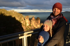 "Three beanies at the ""three sisters"", Blue Mountains"
