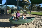 Une pause de notre balade à vélo, avec la famille Mulhall, à Perth